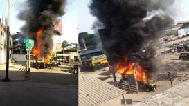 VIDEO : मुंब्रा रेल्वे स्टेशनबाहेर रिक्षात सीएनजी गॅसचा स्फोट