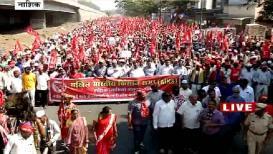 VIDEO: किसान सभेच्या 'लाल वादळा'नं मुंबईच्या दिशेनं केली कूच
