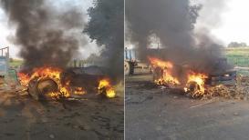 वाळूमाफियांनी 2 शाळकरी मुलांना चिरडले, संतप्त नागरिकांनी पेटवून दिले ट्रॅक्टर