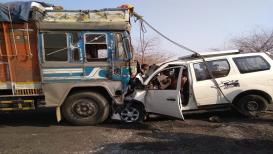 औरंगाबादेत भीषण अपघात.. कार-ट्रकची समोरासमोर धडक; चार ठार, 6 जखमी