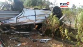 VIDEO: मुंबई-पुणे महामार्गावर भरधाव कारचा टायर फुटून दुर्घटना